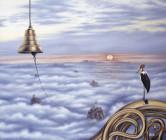 Птица марабу на крыше Мира
